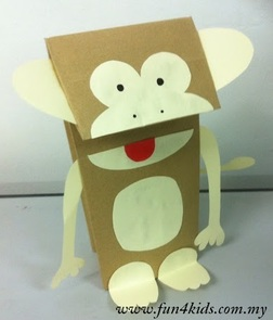 paperbag monkey puppet craft