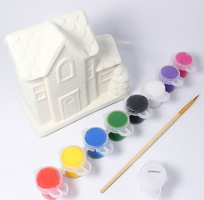House Ceramic Coin Bank Painting - Gingerbread House