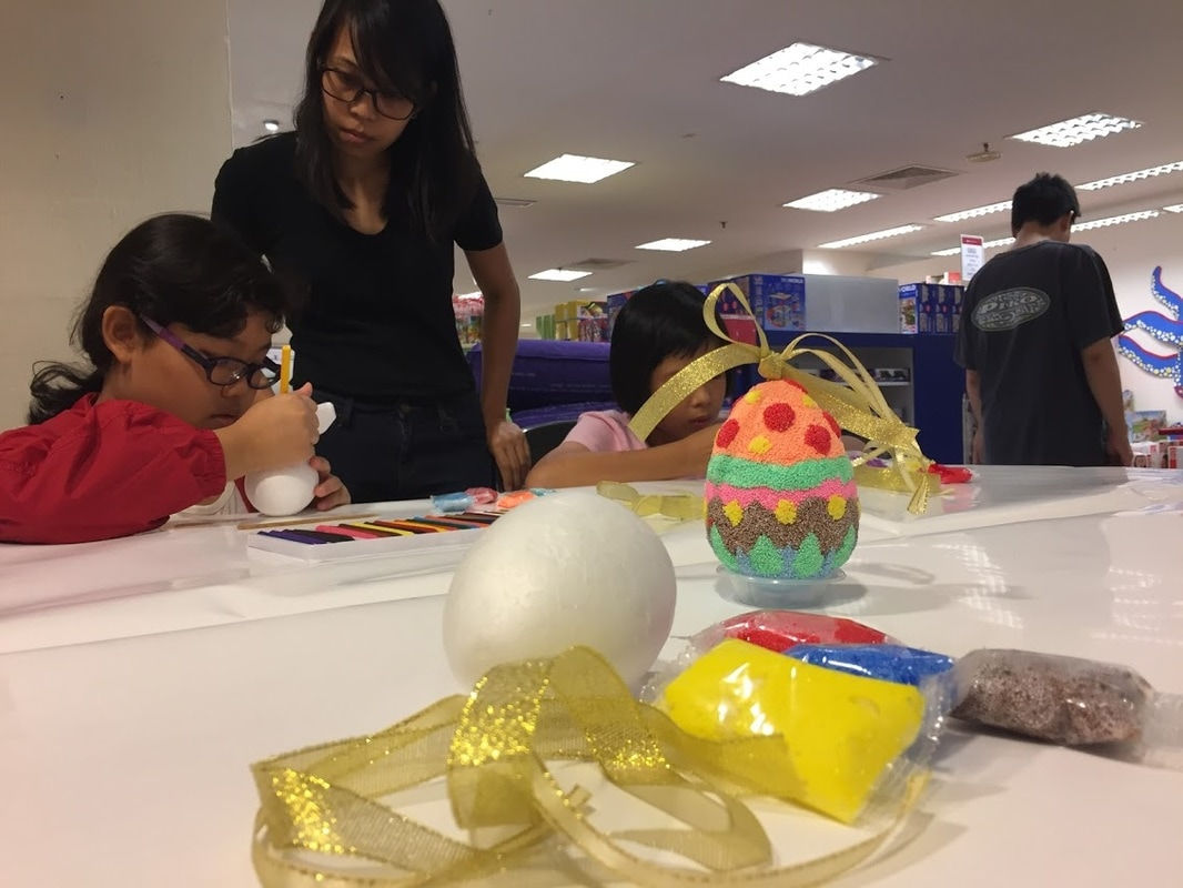 Easter egg clay decorating