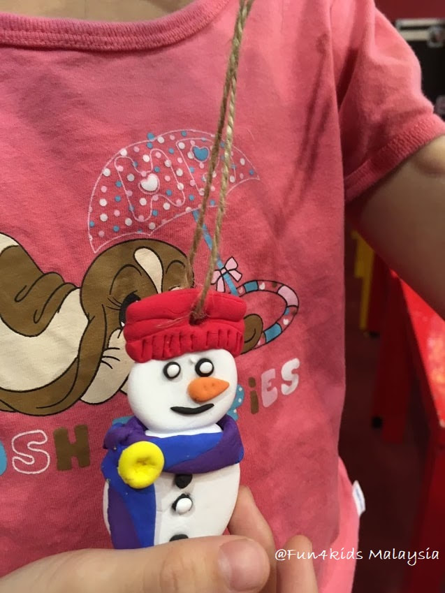snowman clay ornament making activity