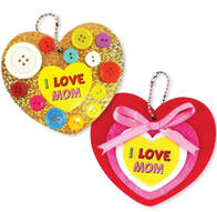 ​Mother's Day Buttons Heart Keychain
